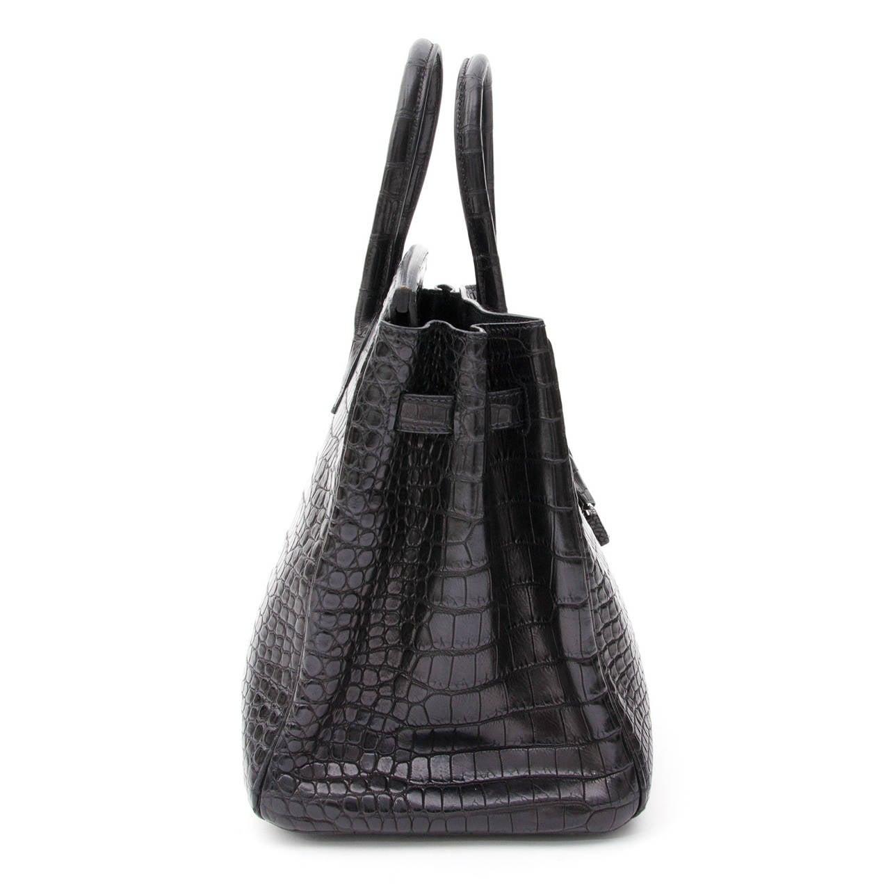 Hermes Matte Black Porosus Crocodile Birkin 35 9