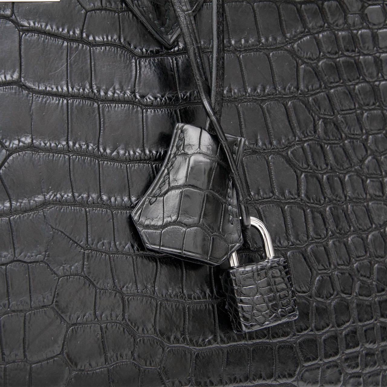 Hermes Matte Black Porosus Crocodile Birkin 35 7