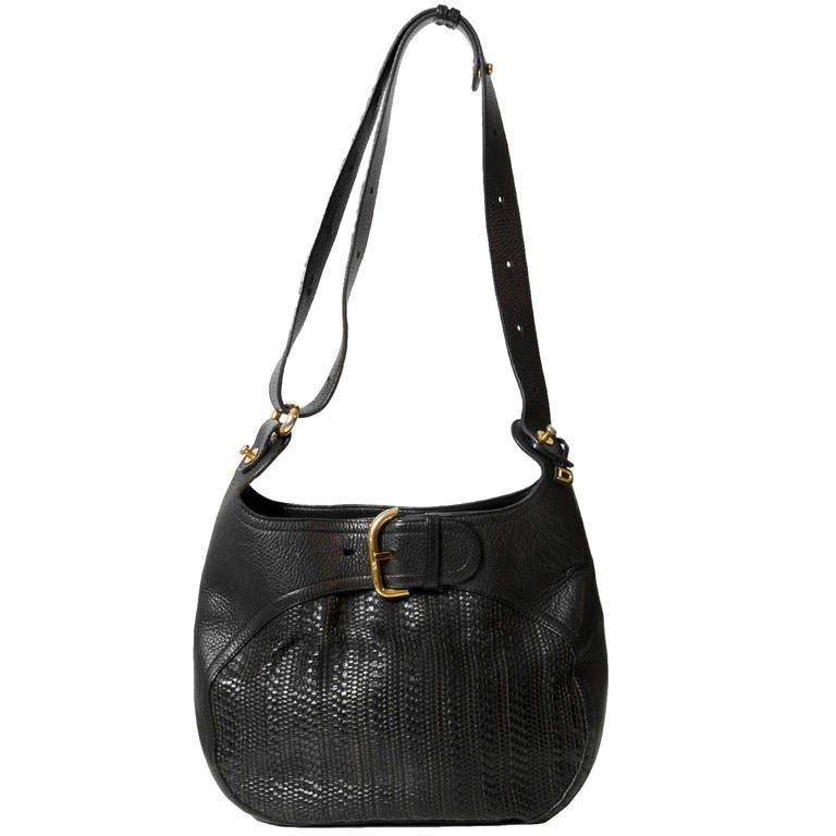 1stdibs 1960s Black Farm Raised Croc Shoulder Bag With Gold Details Akb5f4l