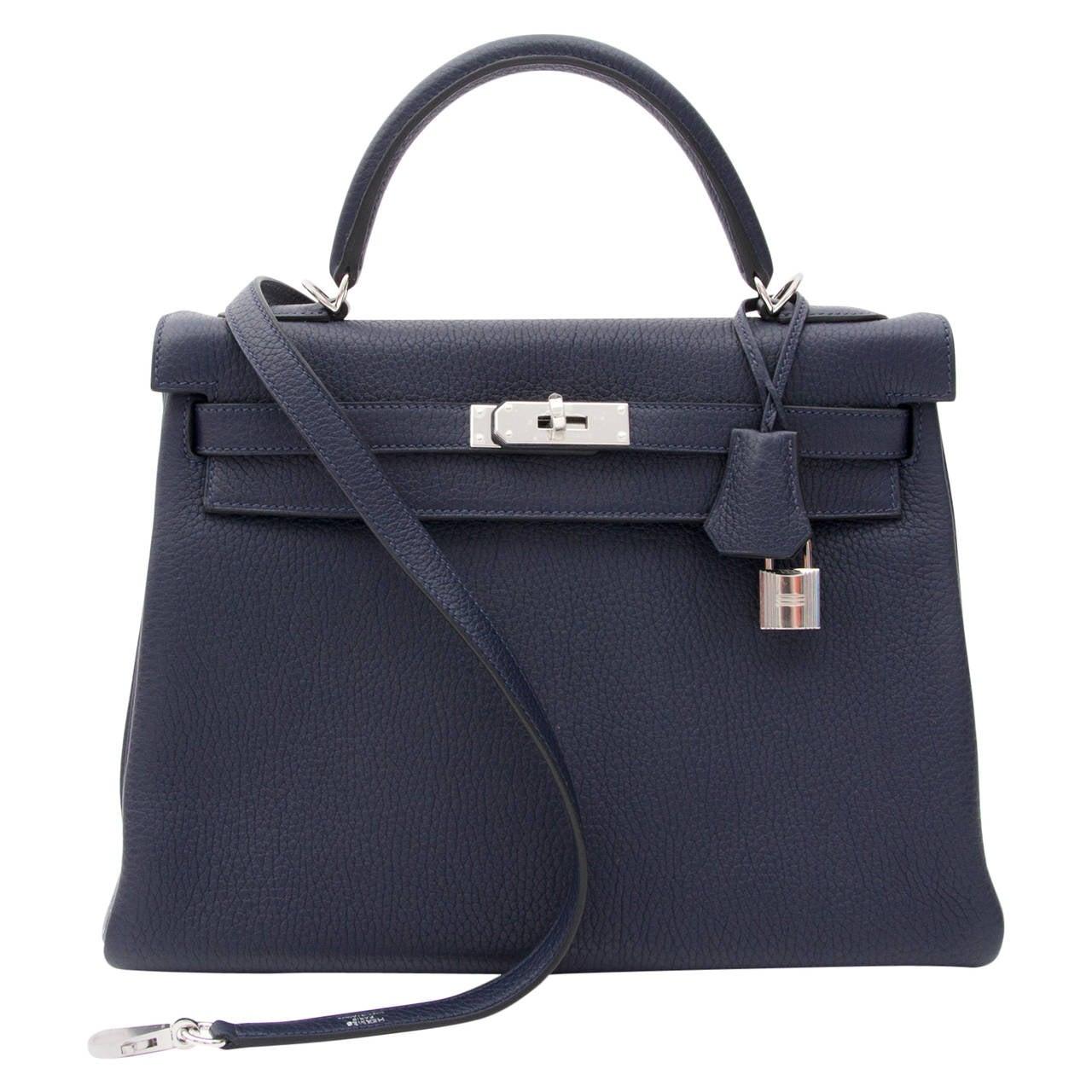 e06e14064171 ... wholesale brand new hermès kelly bag taurillon clemence 32 blue nuit  for sale 2eb99 a039e