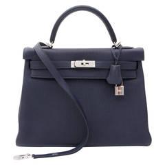 BRAND NEW Hermès Kelly Bag Taurillon Clemence 32 Blue Nuit