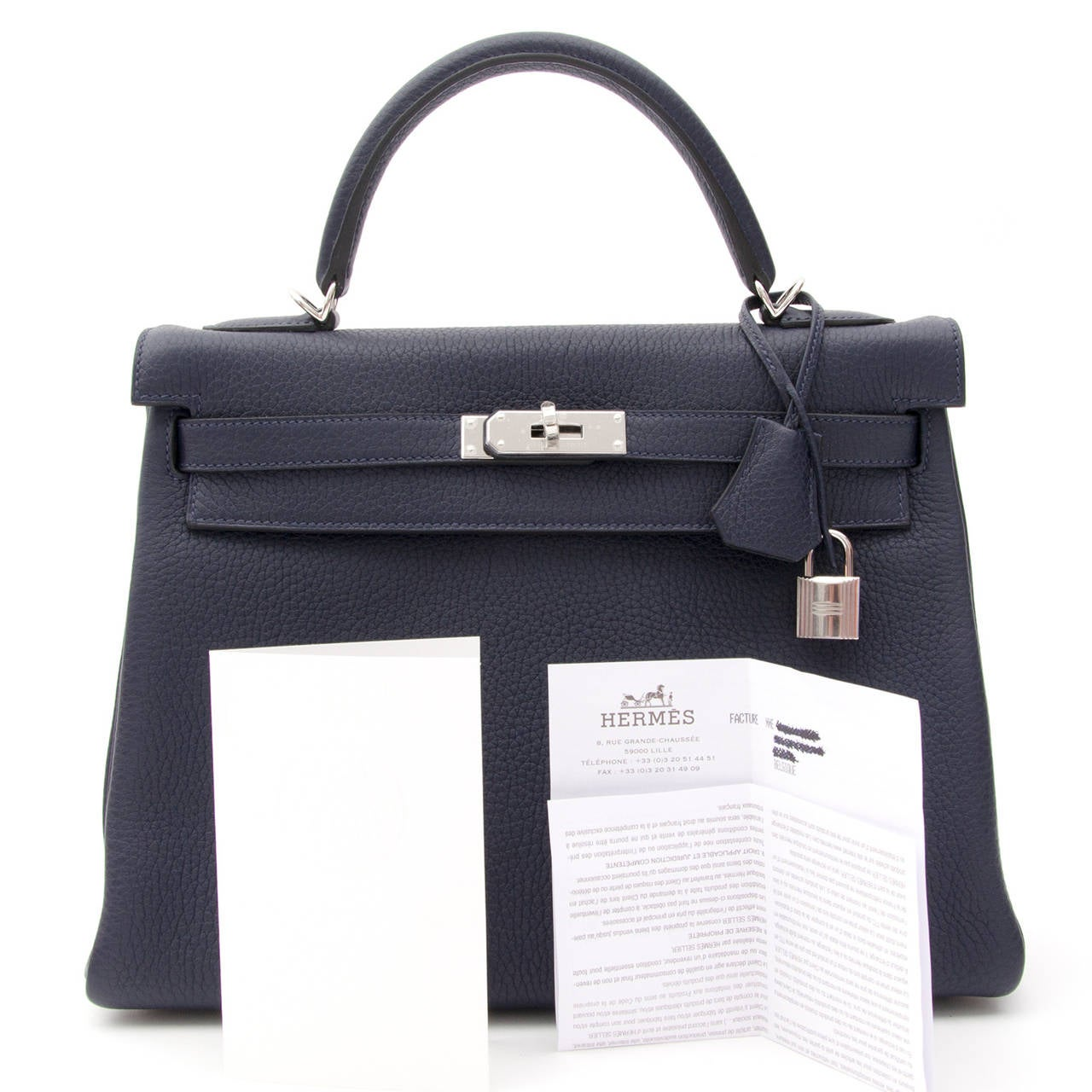 BRAND NEW Herm��s Kelly Bag Taurillon Clemence 32 Blue Nuit For ...