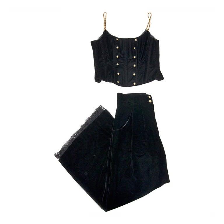 Chanel Black Velvet Wide Pants & Corset 2-piece 1