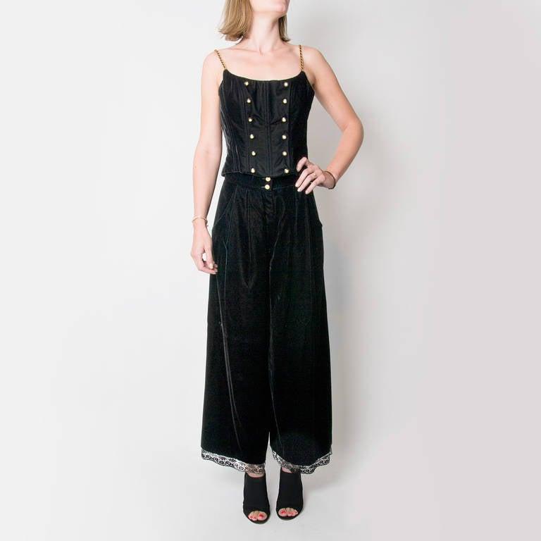Chanel Black Velvet Wide Pants & Corset 2-piece 6