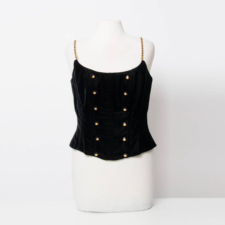 Chanel Black Velvet Wide Pants & Corset 2-piece 2