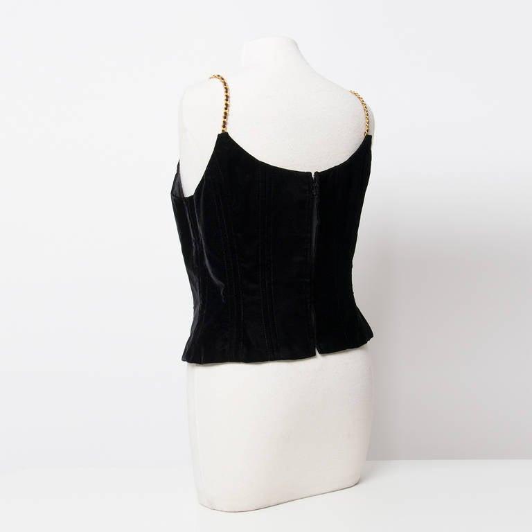 Chanel Black Velvet Wide Pants & Corset 2-piece 3