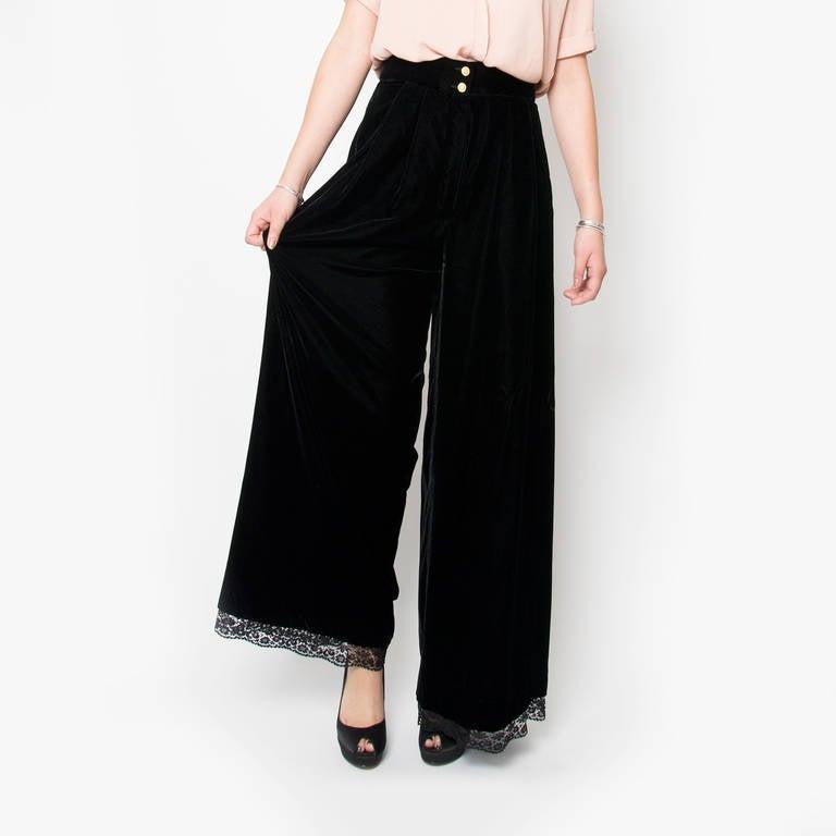 Chanel Black Velvet Wide Pants & Corset 2-piece 4