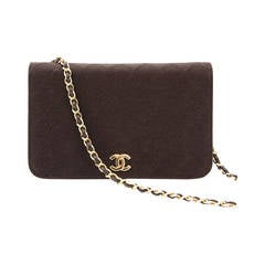 Chanel Brown Quilted Fabric Flap Bag