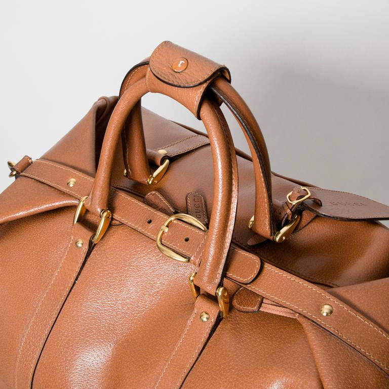 Gucci Cognac Duffel Traveling Bag 4