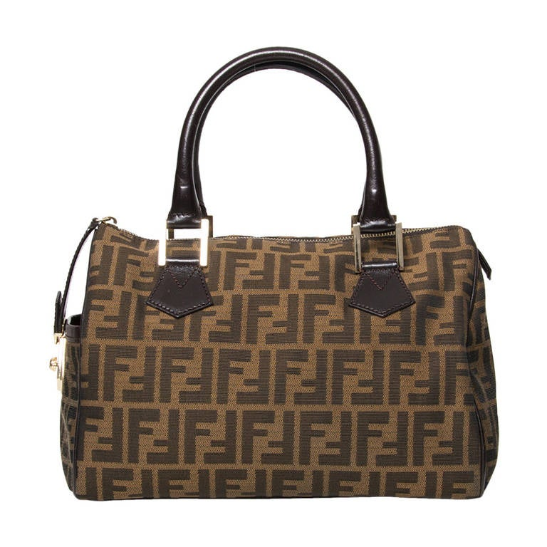 Fendi Ff Logo Canvas Bag For