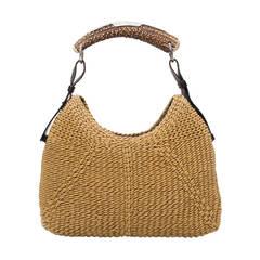 Yves Saint Laurent Woven Mombasa Horn Hobo Bag