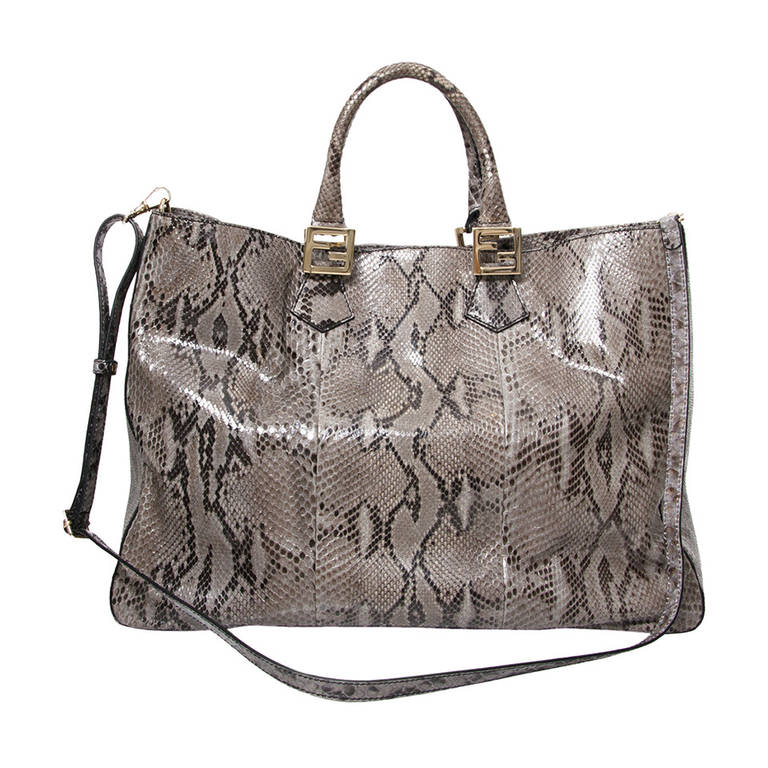 Fendi Grey Python Twins Tote For