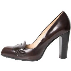 Tod's Loafer Style Dark Brown Pumps