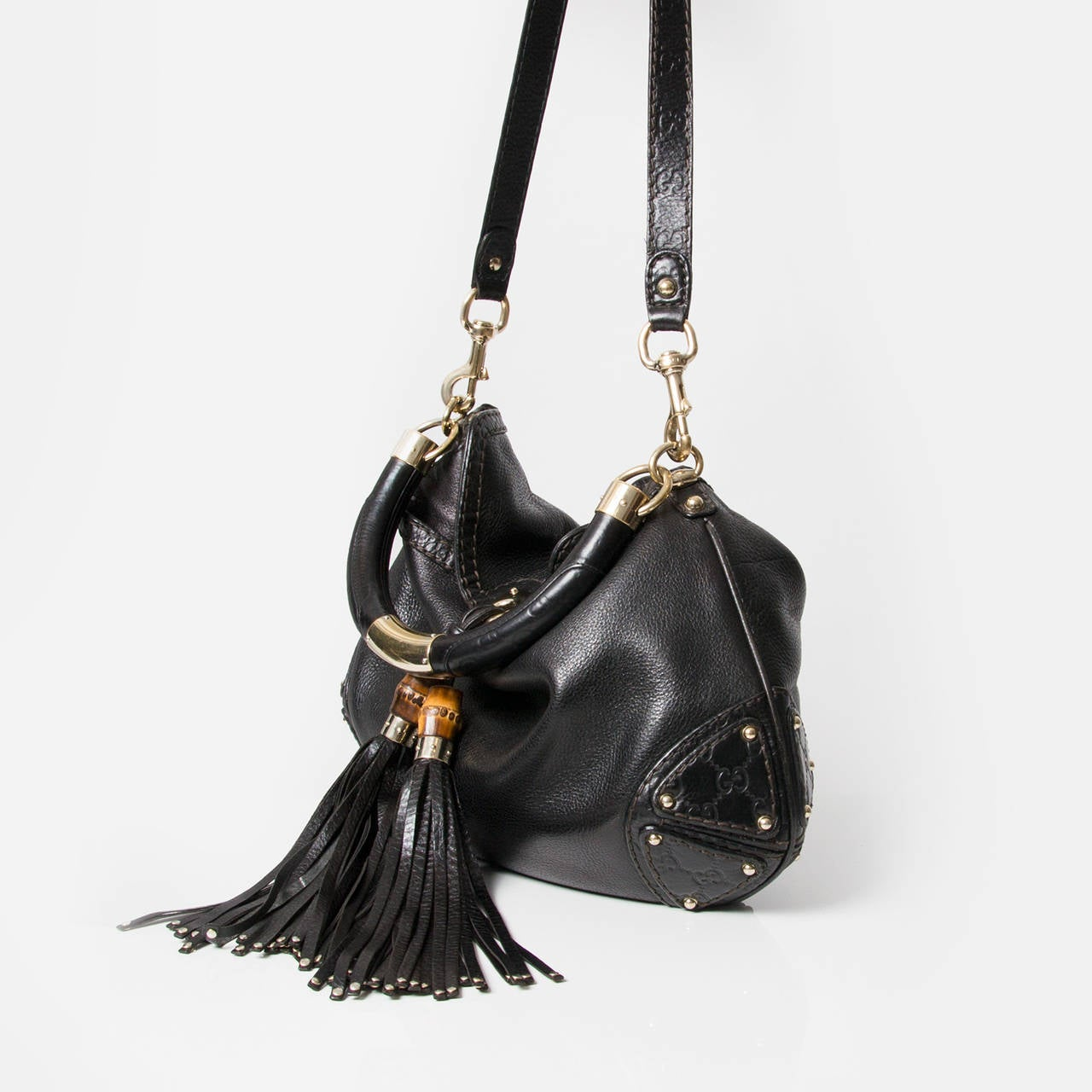 987b294830 Gucci Black Babouska Indy Bamboo Tassel Hobo Bag at 1stdibs