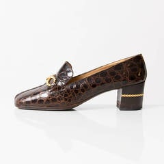 Céline Brown Croc Loafer 39
