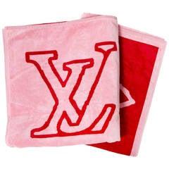 Louis Vuitton Red Pink Monogram Beach Towel