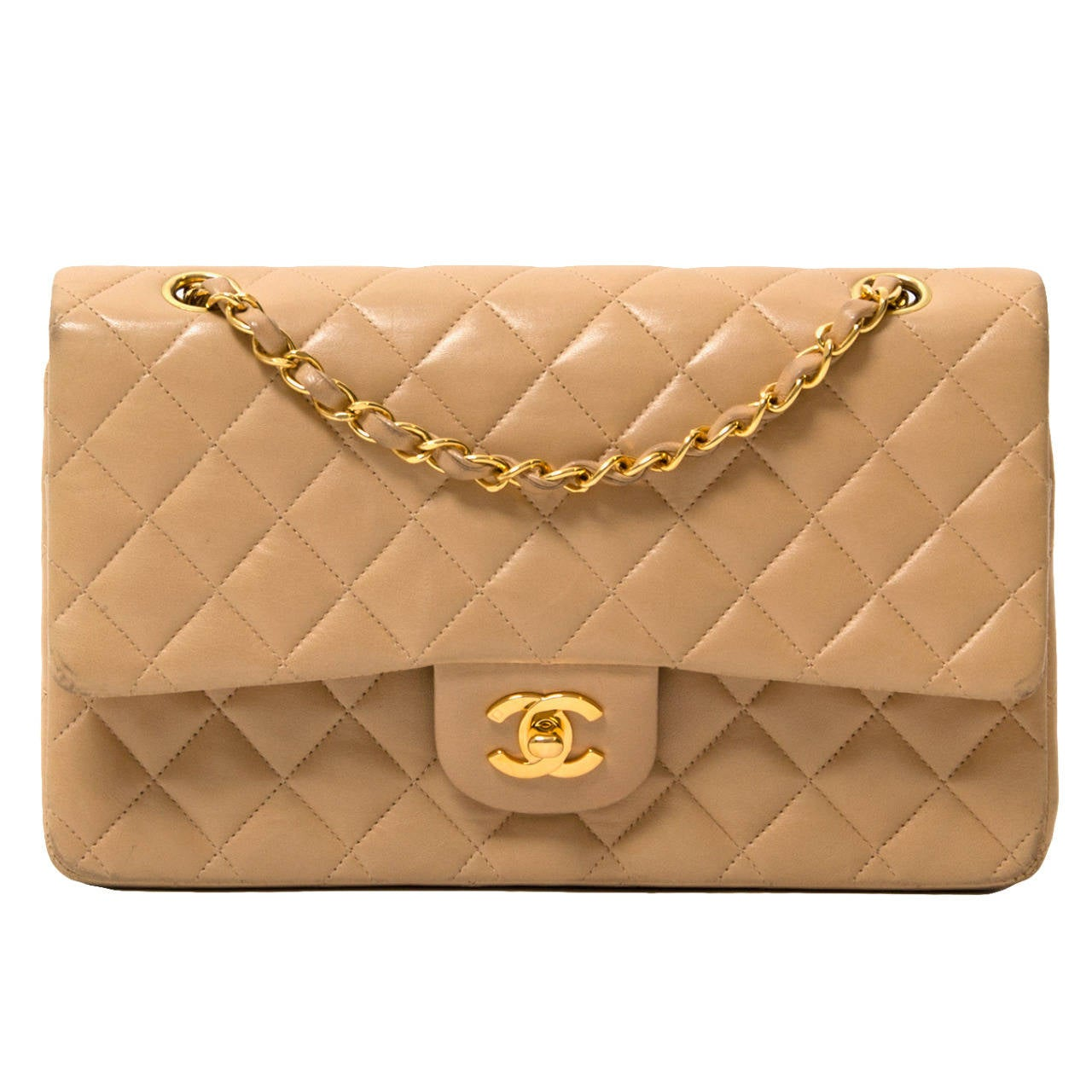 chanel beige lambskin medium double flap bag at 1stdibs