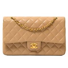 Chanel Beige Lambskin Medium Double Flap Bag