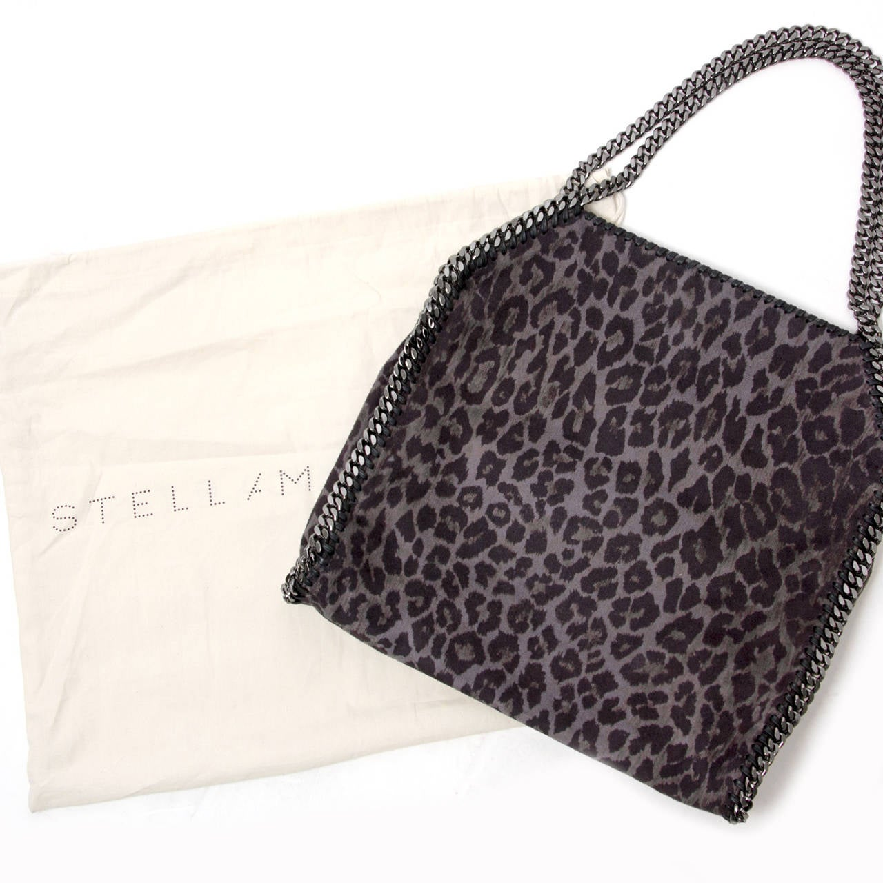 ebdb6b90c6daf Classic big Falabella tote in shaggy deer fabric with ruthenium chain  hardware and Stella McCartney logo