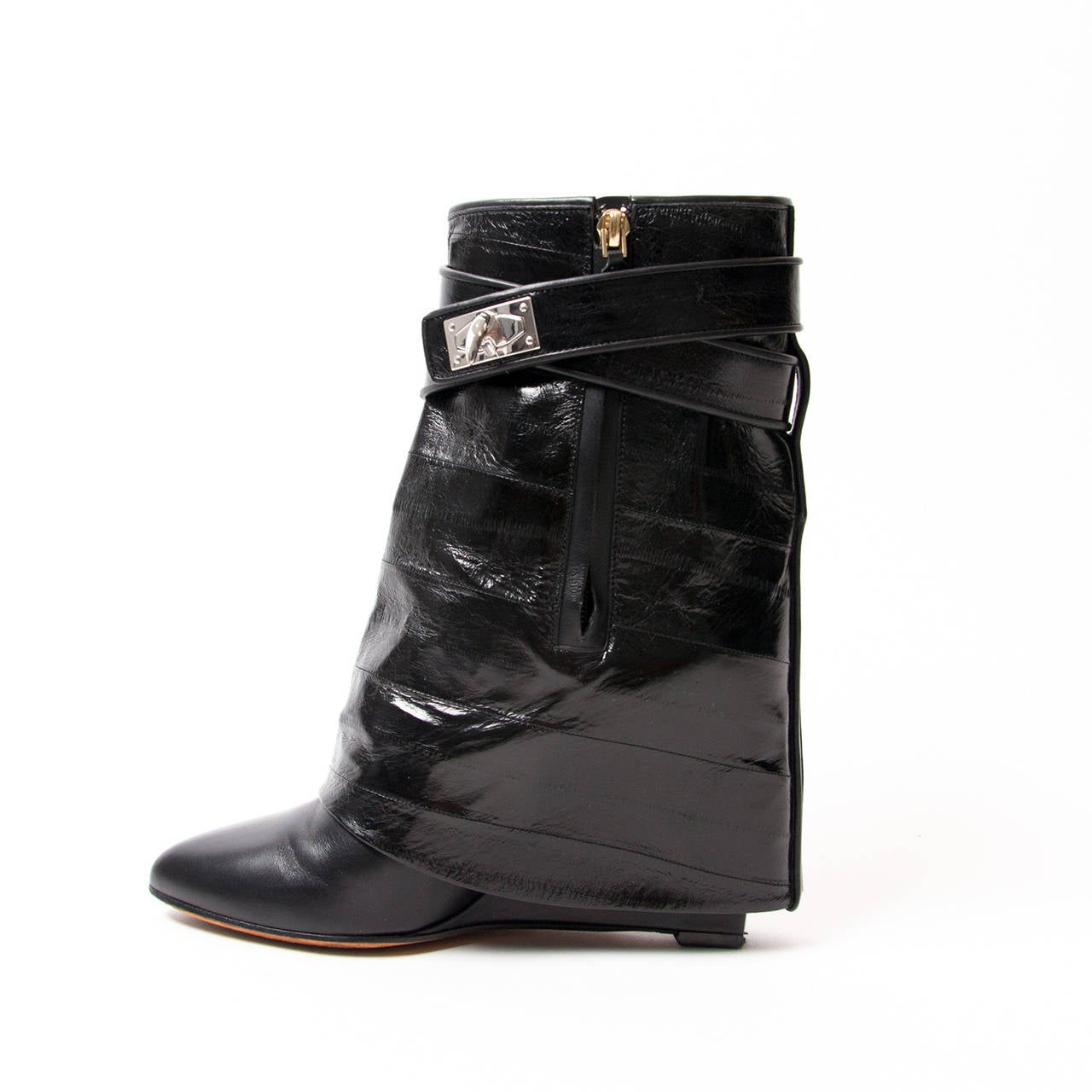 givenchy shark lock eelskin and calfskin leather boots in