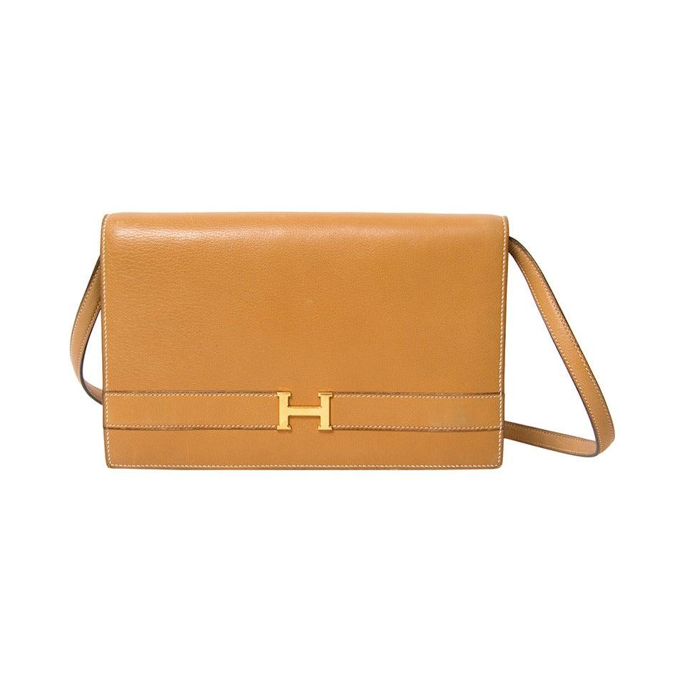 Hermes Leather 'Annie' clutch/Shoulder Bag at 1stdibs