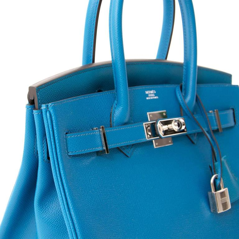 Gorgeous Hermès Bag Made From Finely Grained Epsom Leather In Exotic Blue Izmir Color A