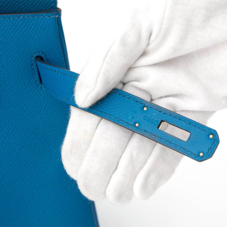 hermes blue cobalt togo leather kelly bag- 32 cm ghw