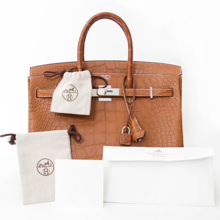 85a95f4a856f Hermès 35cm Barenia Fauve Matte Alligator PHW Birkin Bag at 1stdibs