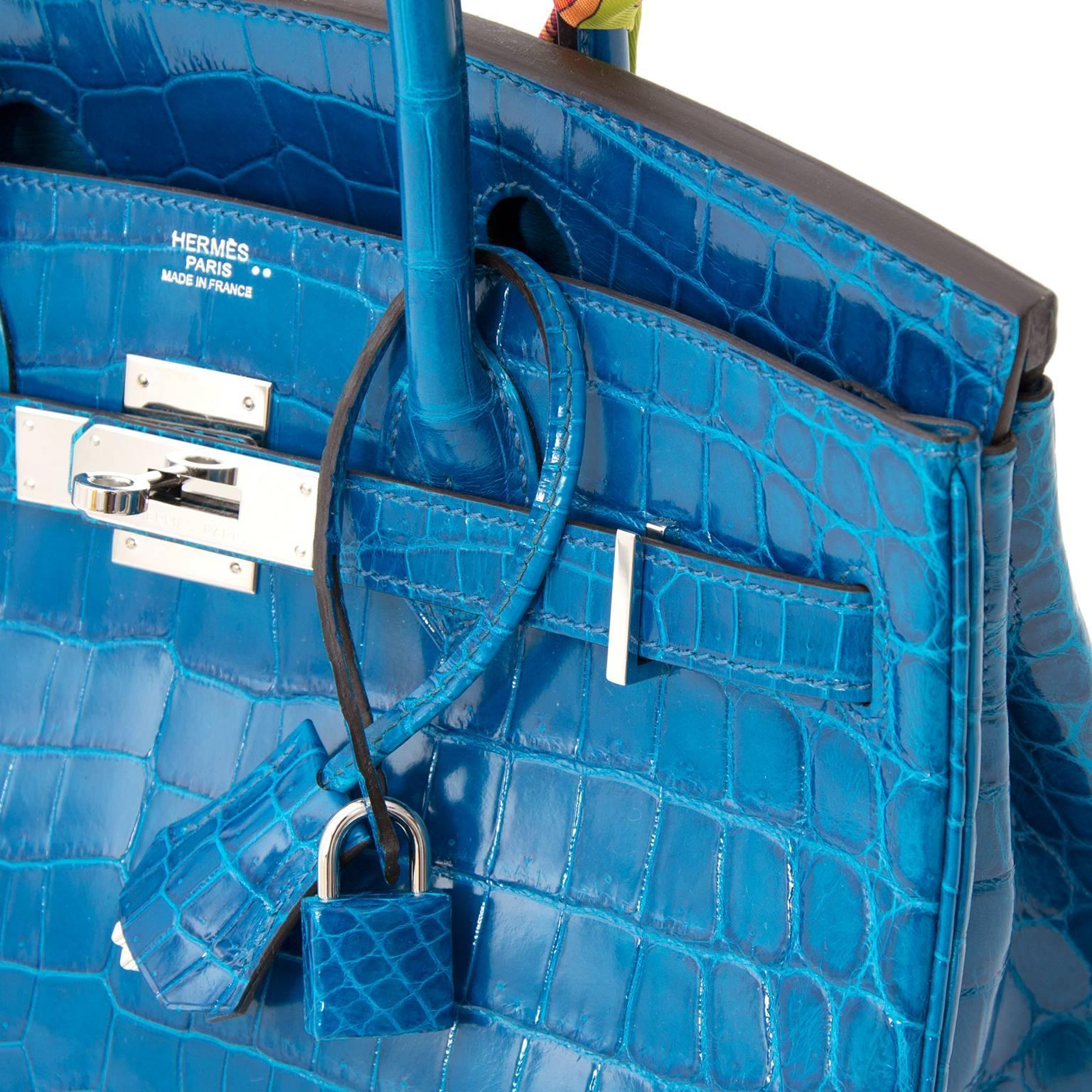 db223551e612 Hermès Birkin 30 Blue Izmir Crocodile Niloticus PHW at 1stdibs