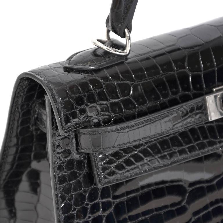 306defd3aae7 RARE Brand New Black Kelly Crocodile Porosus 25 PHW at 1stdibs