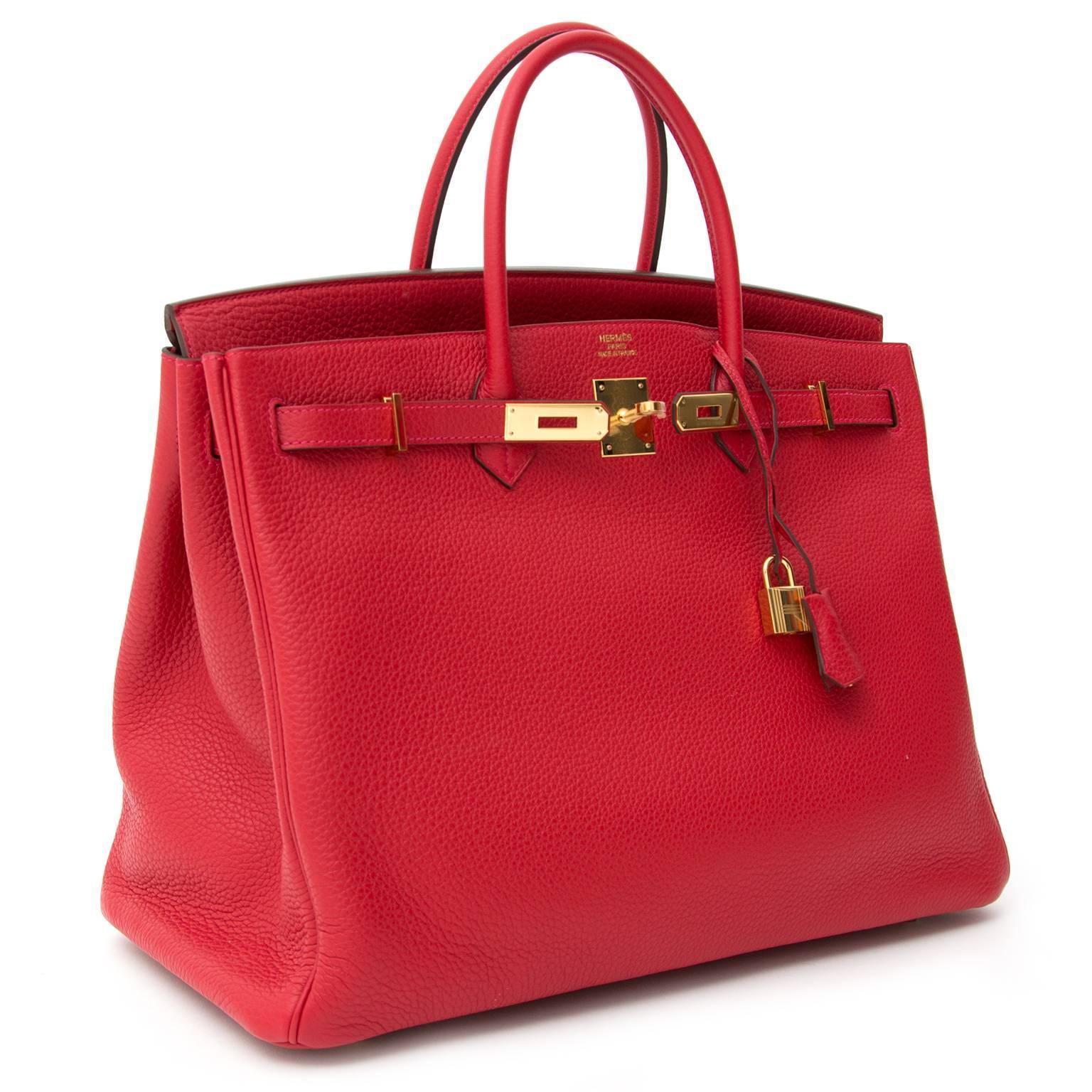 816f4d4a5d75 Brand New Hermès Birkin 40 Clemence Taurillon Rouge Casaque GHW at 1stdibs