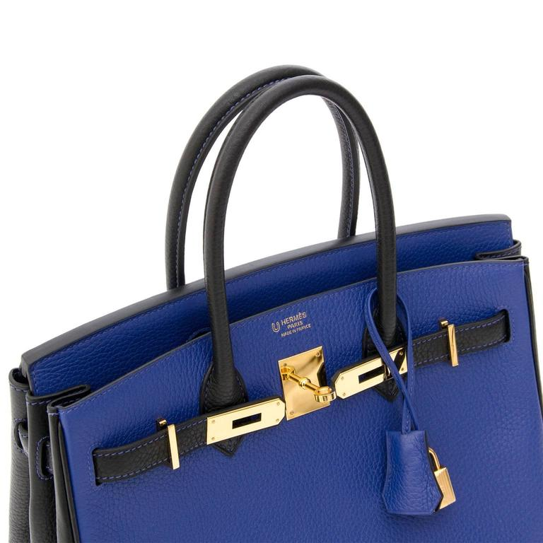 6d00cf9c141 Hermès Birkin 30 Bicolor Blue Electrique Black Permabrass at 1stdibs