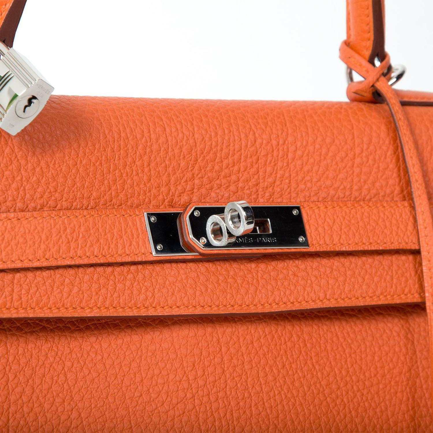 41180f41bfa Hermes Orange Kelly 35 Retourne Veau Togo For Sale at 1stdibs