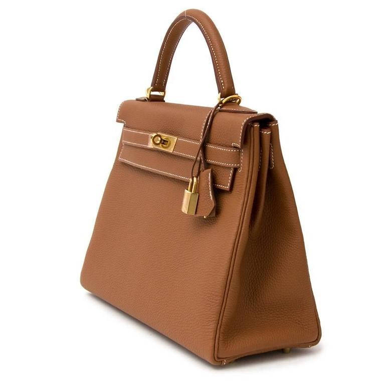 2369ff04f9d57 Brown BRAND NEW Hermès Kelly Retourne 32 Gold Togo GHW For Sale