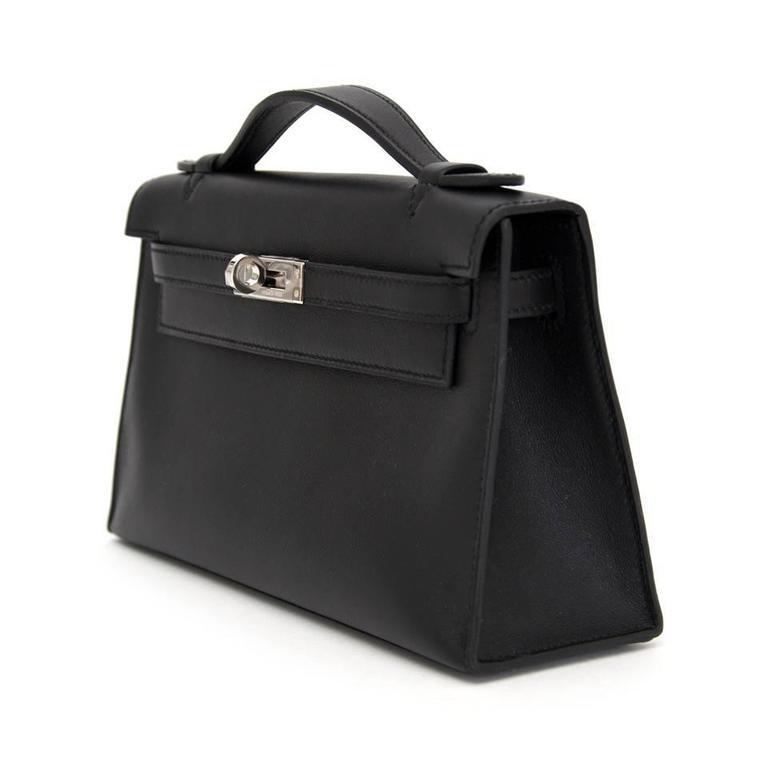73fc9e73bb39 Hermès Black Pochette Kelly Mini Veau Swift In New Condition For Sale In  Antwerp