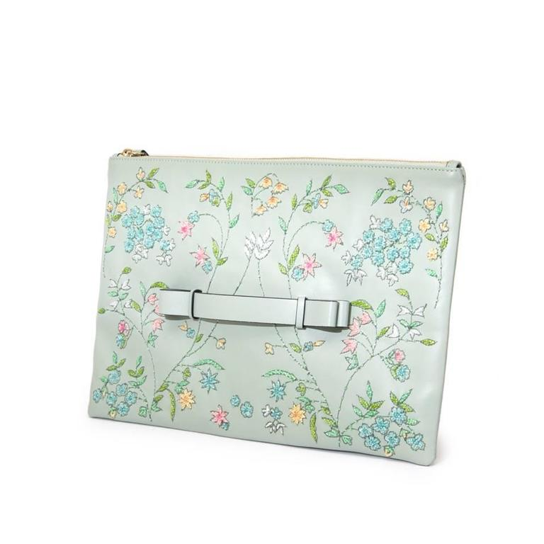Red Valentino Pastel Green Floral Embellished Leather Clutch 3
