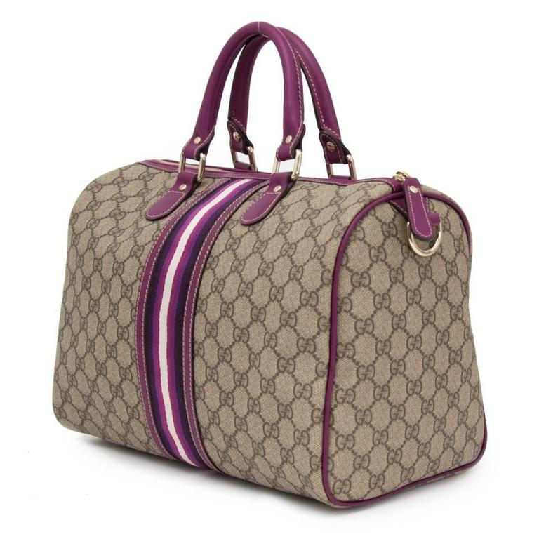 f6042545c Gray Gucci GG Plus Monogram Web Medium Joy Boston with purple details For  Sale