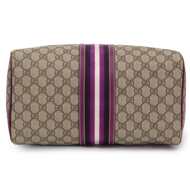 Gucci GG Plus Monogram Web Medium Joy Boston with purple details In Good Condition In Antwerp, BE
