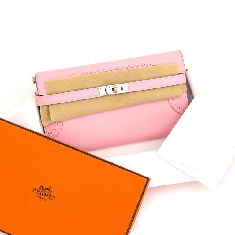 Brand New Hermes Kelly Ghillies Wallet Rose Classique Veau Swift  2