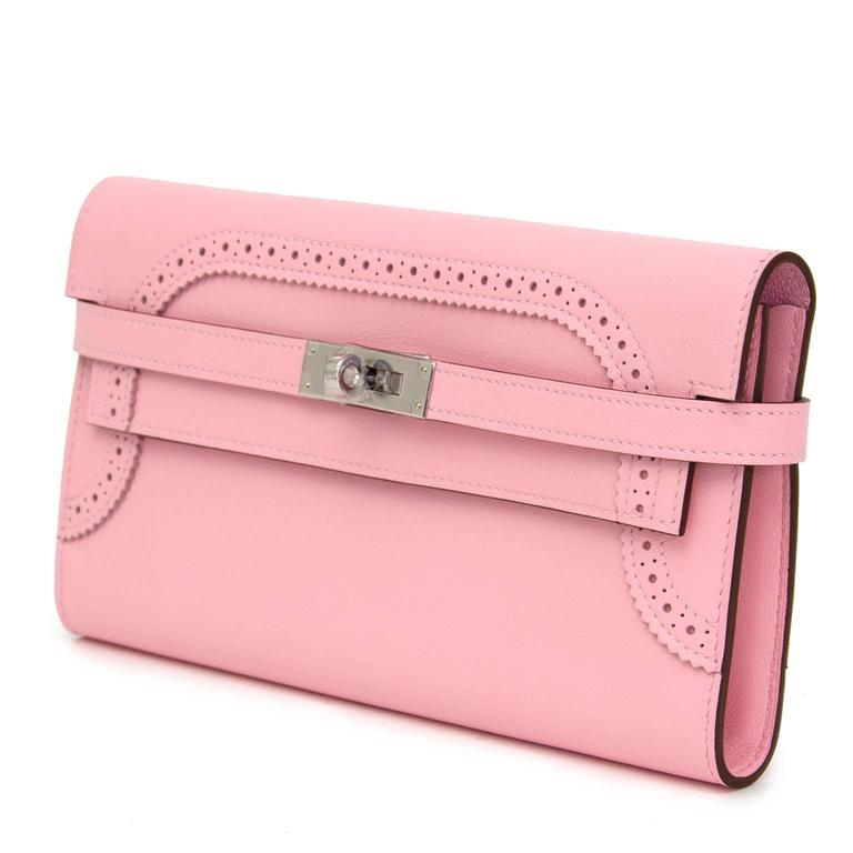 Brand New Hermes Kelly Ghillies Wallet Rose Classique Veau Swift  4