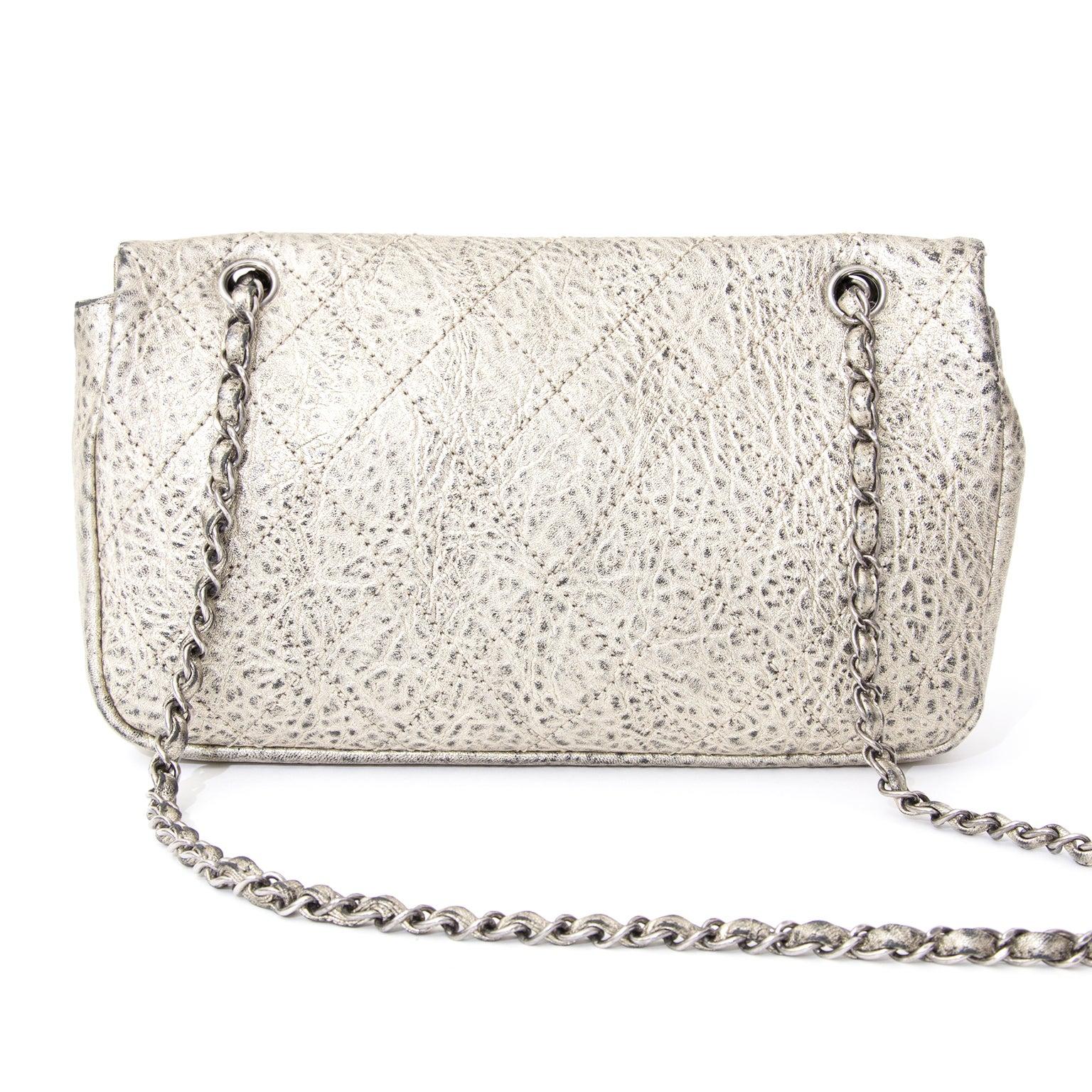 52c2a458ba5 Rare Chanel Aged Silver Classic Flap Bag at 1stdibs