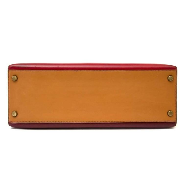 Hermès Kelly 32 Tri Color Box Calf Sellier Vermillion Red, Rouge H & Gold GHW  1