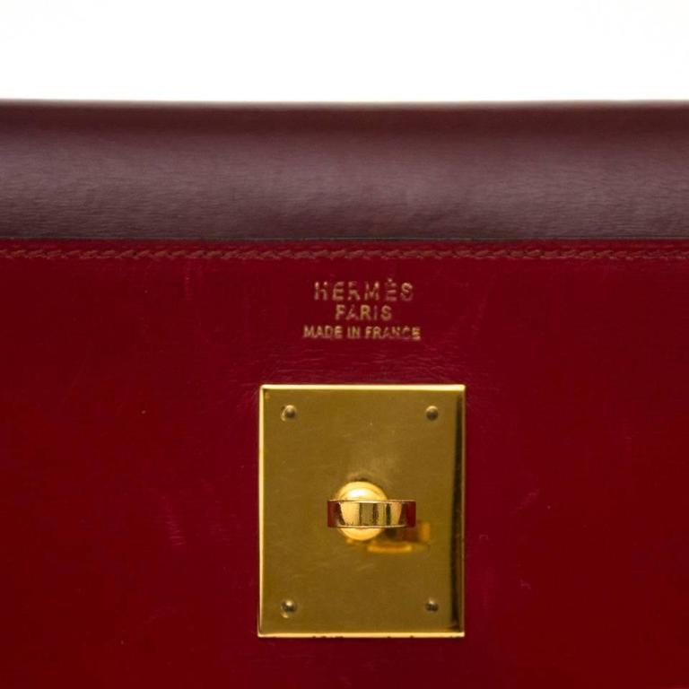 Hermès Kelly 32 Tri Color Box Calf Sellier Vermillion Red, Rouge H & Gold GHW  2