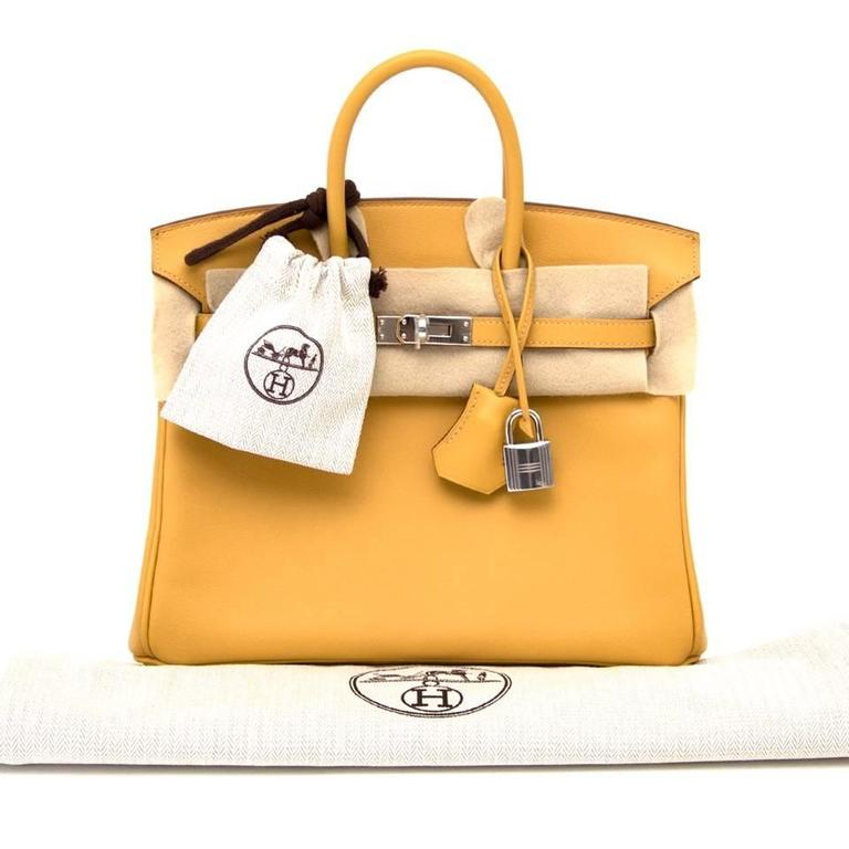 7d09ddd616e6 ... official a stunning authentic curry birkin 25 with palladium hardware.  this authentic hermes handbag in