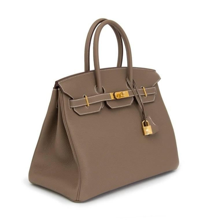 564305778a Brown Brand New Hermes Birkin 35 Togo Etoupe GHW For Sale