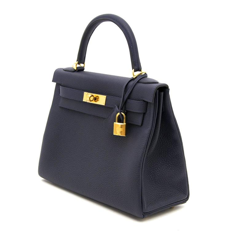 a9bd3cb4d703d Hermes Kelly Retourne 28 Togo Bleu Nuit GHW. This gorgeous and highly  coveted Kelly comes