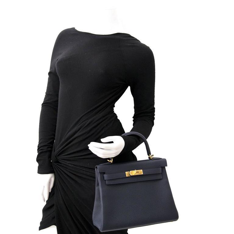 BRAND NEW Hermes Kelly Retourne 28 Togo Bleu Nuit GHW For Sale 1