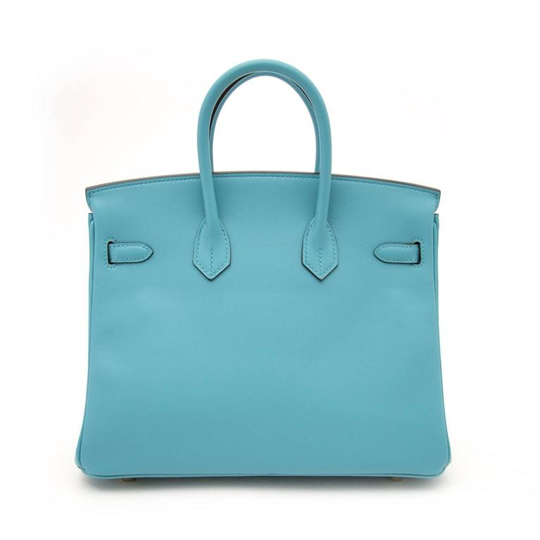 Blue BRAND NEW Hermes Birkin 25 Swift Bleu Saint Cyr For Sale