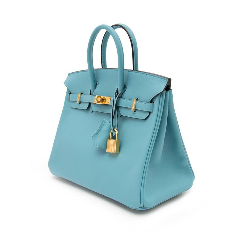 BRAND NEW Hermes Birkin 25 Swift Bleu Saint Cyr For Sale 1