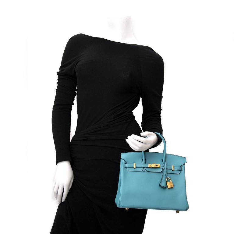 BRAND NEW Hermes Birkin 25 Swift Bleu Saint Cyr For Sale 2